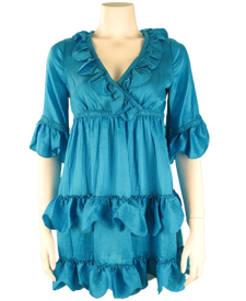 Scalloped Ruffles Tured Dress
